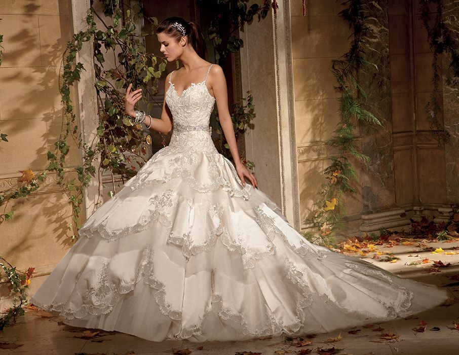 Huge Ball Gown Wedding Dresses | Tiered Princess Ball Gown Wedding ...