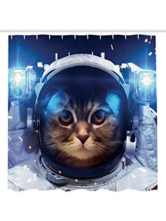 Cat Shower Curtain Decorations By Ambesonne Astronaut In Space Graphic Galaxy Cosmos Astronomy Novelty Gifts Art Prints For Kids Cute Kitten Design