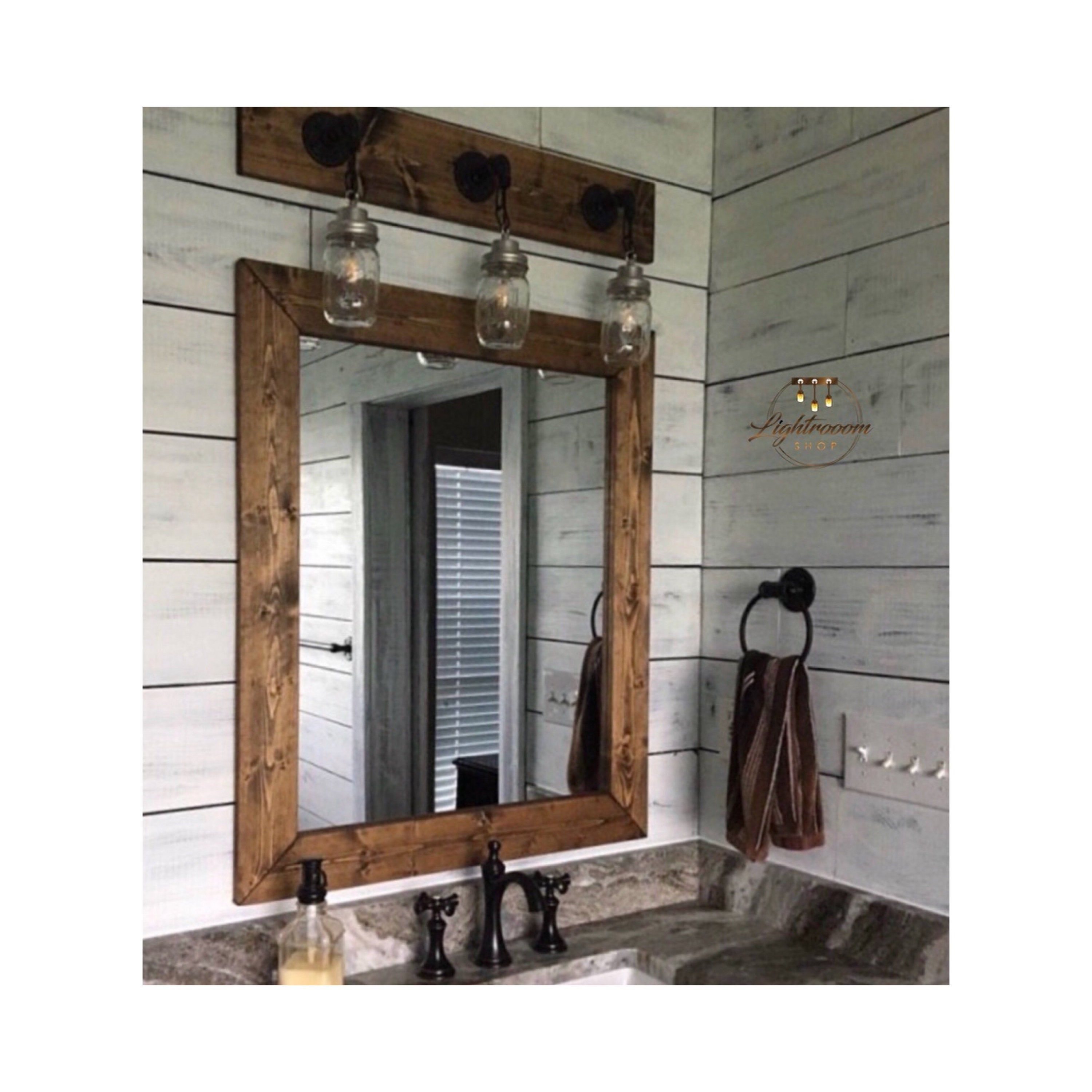 Dark Walnut Farmhouse Mirror Country Framed Mirror Wood Mirror Bathroom Mirror Wall Mirror Vanity Mirrors Cottage Small Large Mirror In 2020 Farmhouse Mirrors Bathroom Mirror Wood Framed Mirror