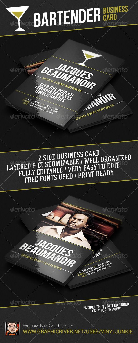 Bartender Business Card Industry Specific Business Cards