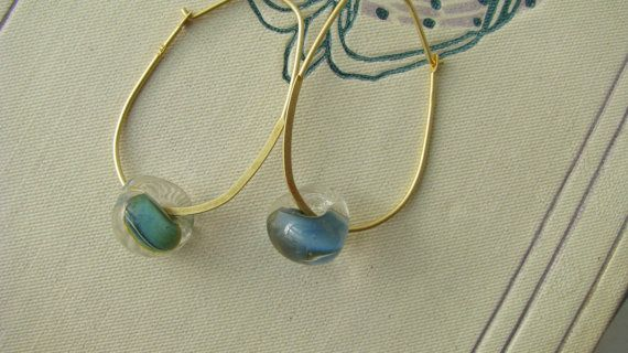 Gold hoops hand made glass beads hoop earrings by PersimmonPearl