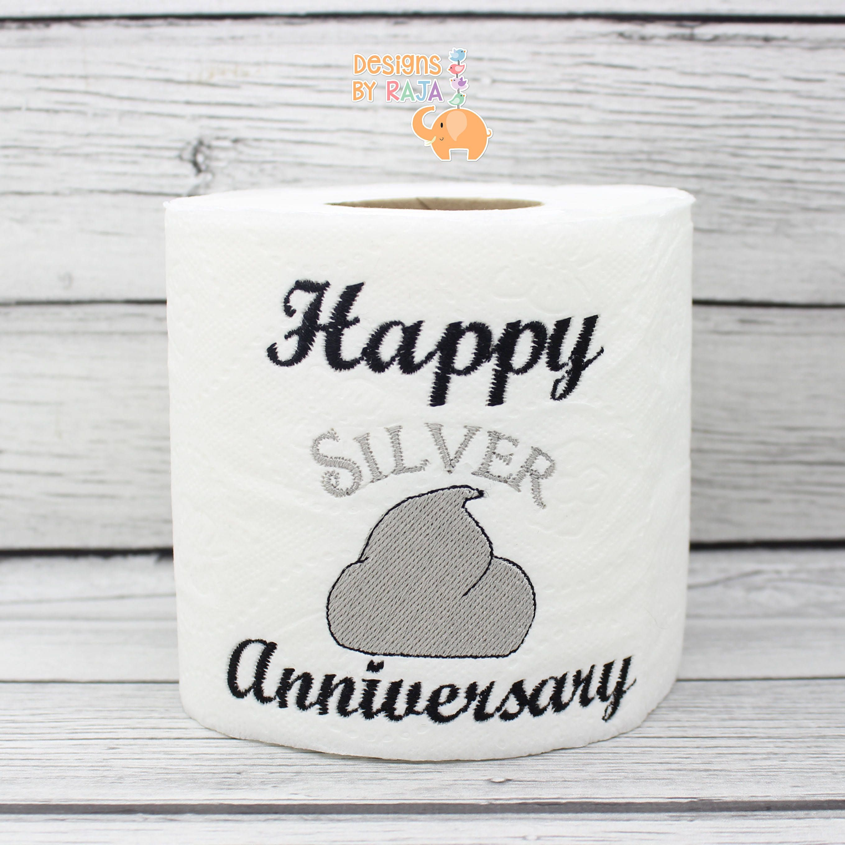 Happy Silver Anniversary Embroidered Toilet Paper 25th Anniversary Gift Funny Gag Gift Bathroom Silver Anniversary Embroidered Toilet Paper Gag Gifts Funny