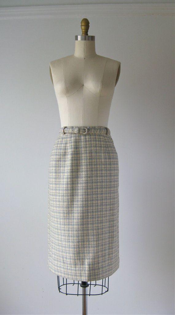 vintage 1960s plaid skirt / 60s plaid pencil skirt by Dronning