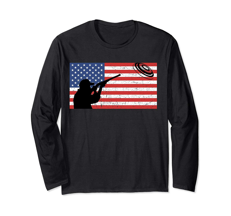 Skeet Shooting Shirt Clay Pigeon Bird Trap American Flag
