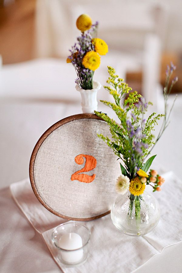Table Numbers - Embroidered. So simple & such a sweet touch. Photography by beccawoodphotography.com