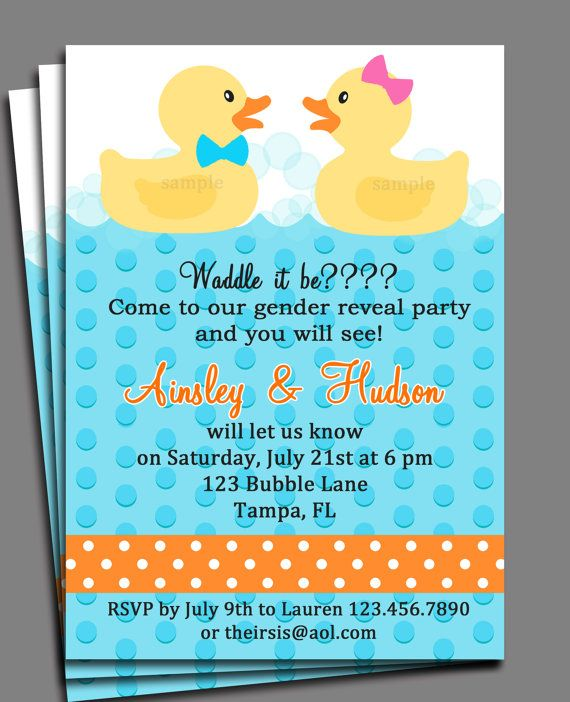 Rubber Duck Gender Reveal Invitation Printable by ThatPartyChick – Rubber Duck Birthday Invitations