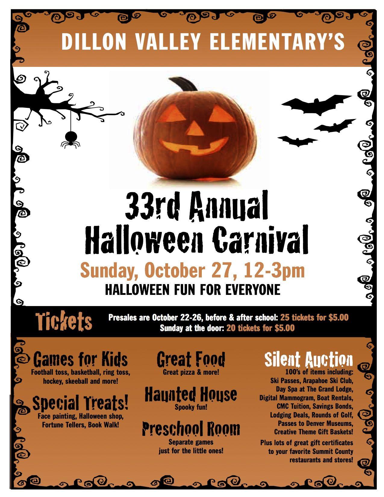 Dillon Valley Elementary School Halloween Carnival October 27th ...