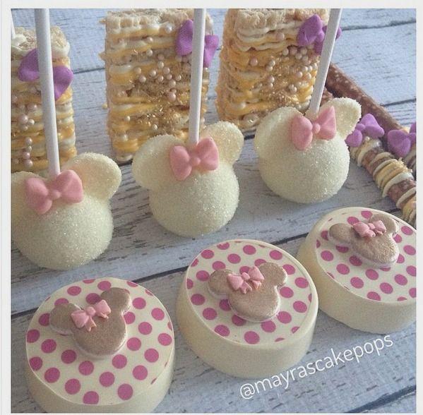"Mayra Rodriguez on Instagram: ""Mia's First Birthday #minniemouse #mayrascakepops #mydulcedelights #firstbirthday #girlbirthday #girly #yellow #customsweets #customcookies #oreocookies #cakepops #ricekrispy #pretzelrods"""