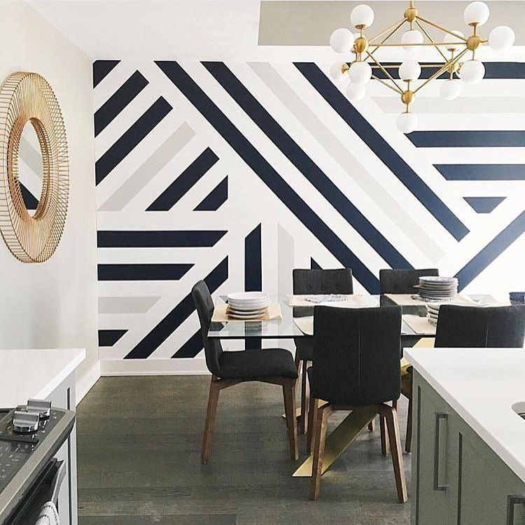 "Metropolitan Home on Instagram: ""Graphic and bold in black, white, and gold. #mural #diningroomdecor #interiordesignideas // 📷: @leclairdecor, via @homesby1962"" 