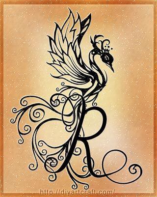 Fenice Letter R Alphabet Tattoo
