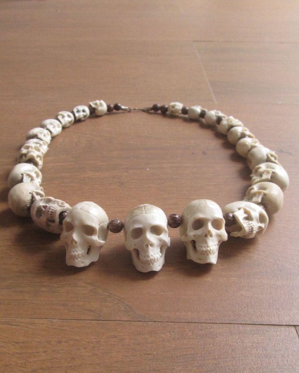 Carved Bone Skull Necklace In Antler Skull Carving Beaded Skull Skull Necklace