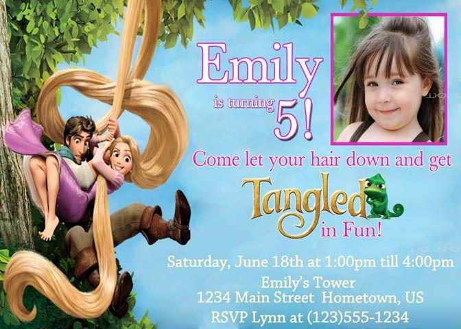 rapunzel birthday invitation tangled invitation by kayedigiprints,