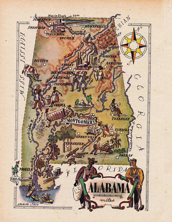 map of Alabama from the 1940s digital download sheet 1700