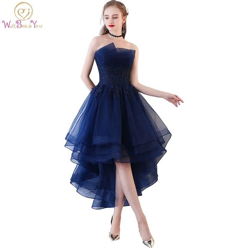 1f90fa3b80e Walk Beside You Navy Blue Evening Dresses Short Front Long Back Party Gowns  Lace Applique Strapless vestidos de festa Formal