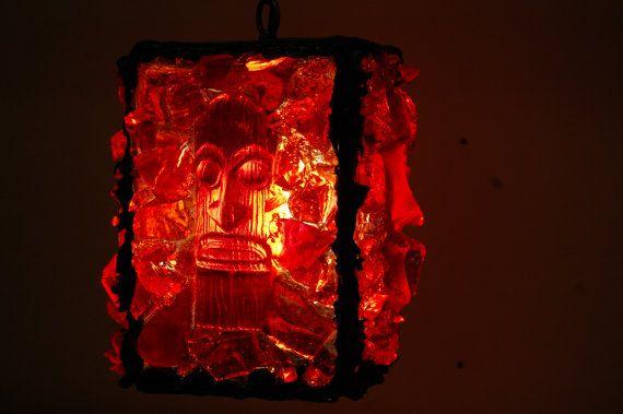 Tiki Red Rock Mini Lava Hanging Lamp Tiki Decor Tiki