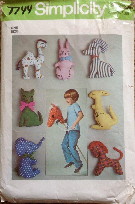 Simplicity 7744 1970s Stick Horse Pattern Stuffed Camel Bunny Dog ...