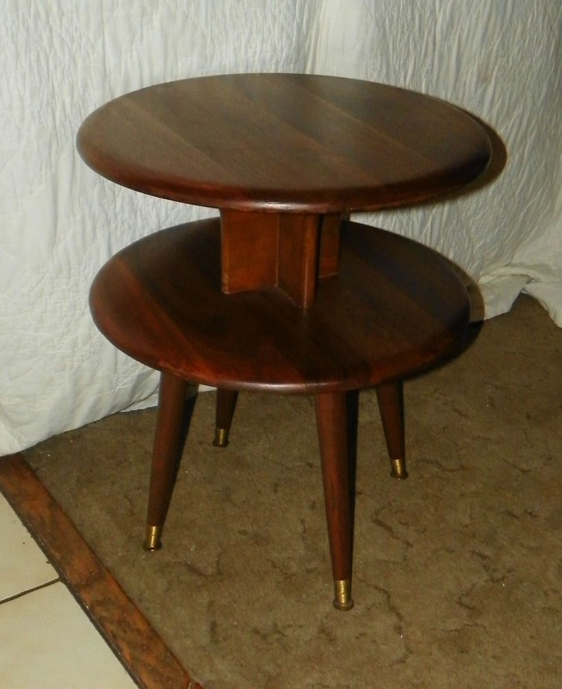 Solid Walnut Round 2 Tier End Table Side Table T133 With Images Solid Walnut Side Table End Tables