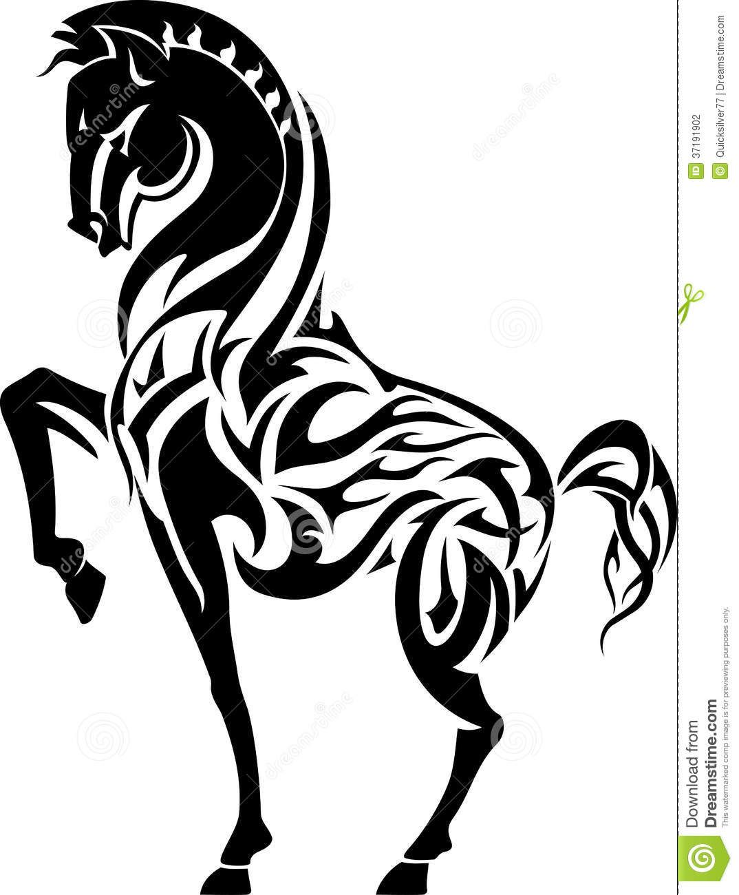 Horse Flame Tattoo Stock Photography