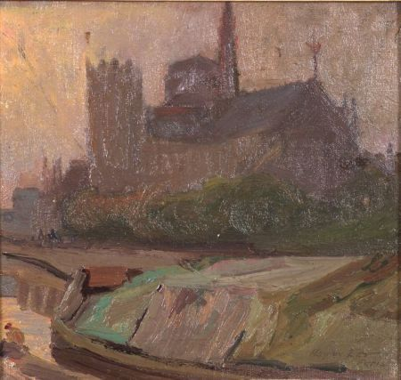 """""""Notre Dame,"""" Richard Hayley Lever, Oil on canvas board, 9 x 9"""", Private collection."""