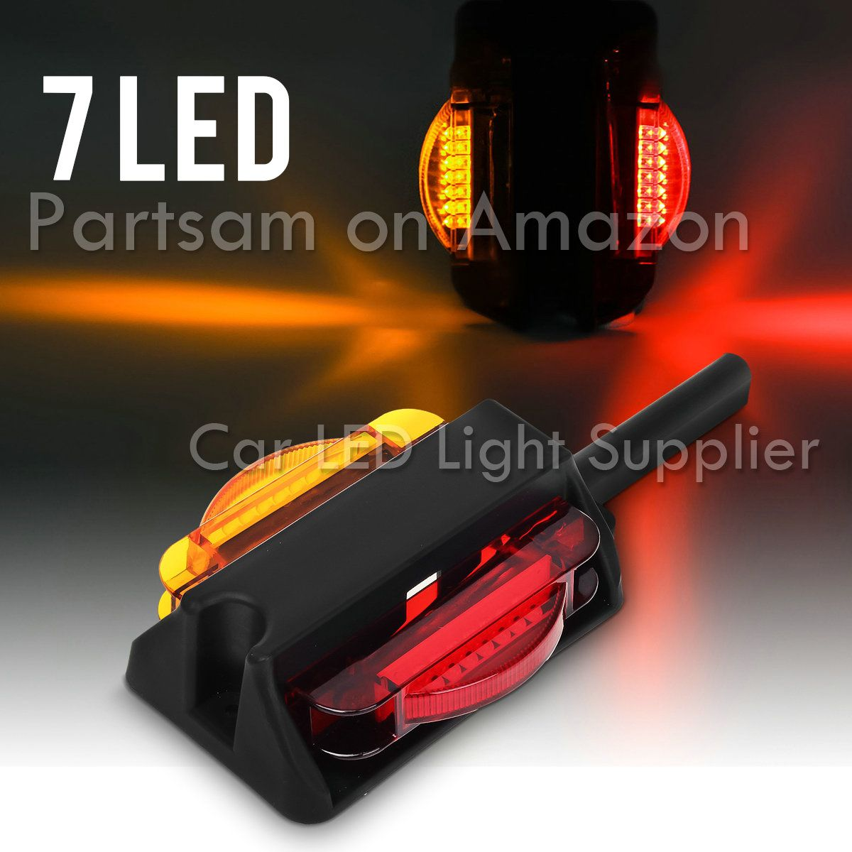 Partsam 2pairs Led Trailer Fender Light Dual Face Amber