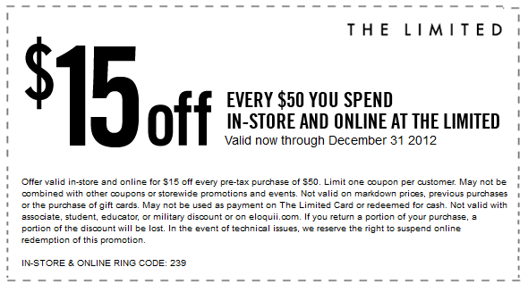 photo about The Limited Printable Coupon identified as $15+off+each+$50+at+The+Confined,+or+on the internet+through+checkout+