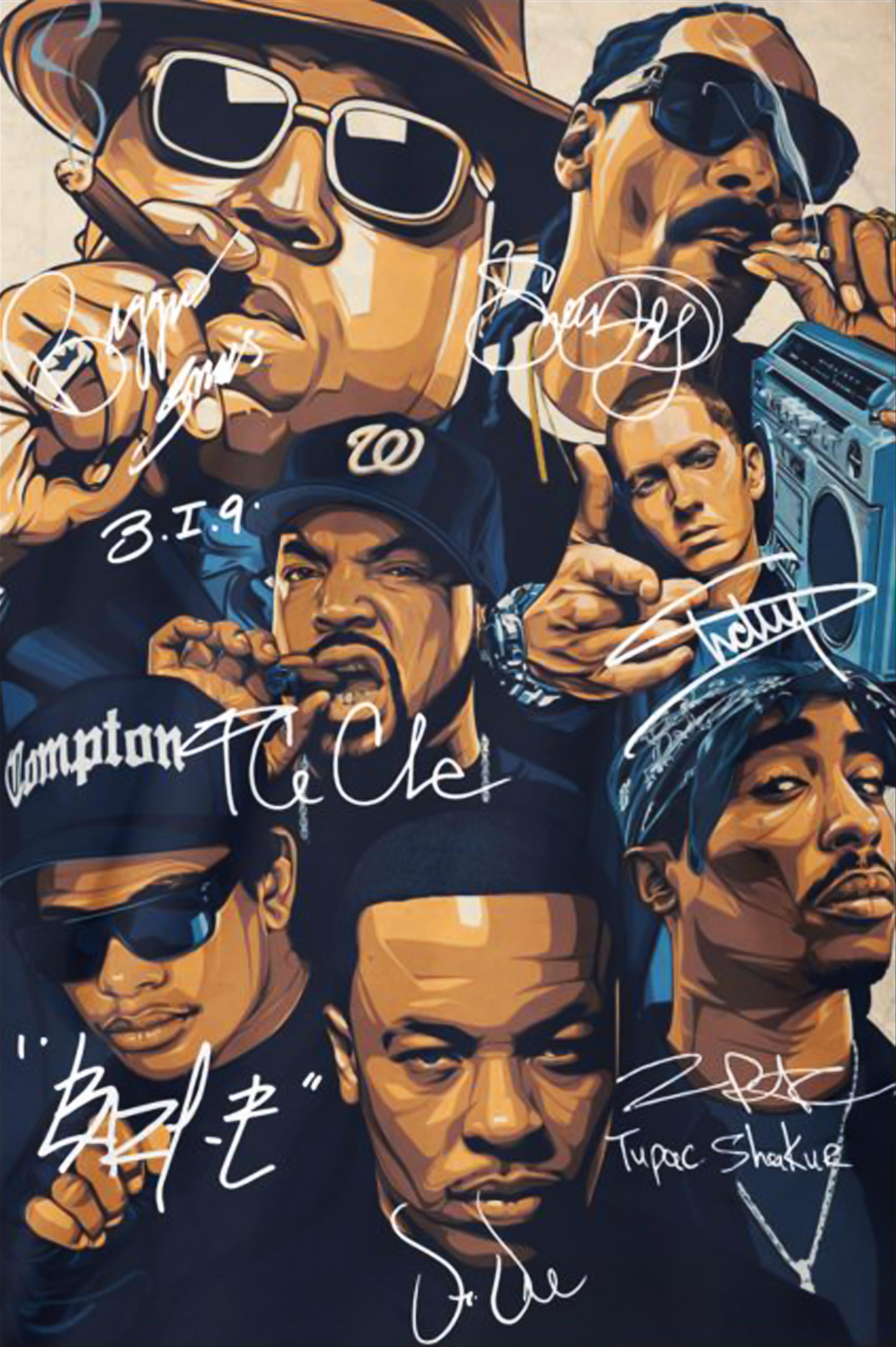 Great Rap Legends Notorious Big Snoop Dogg Ice Cube Eminem Tupac Signature Poster Tupac Art Hip Hop Artwork Hip Hop Poster