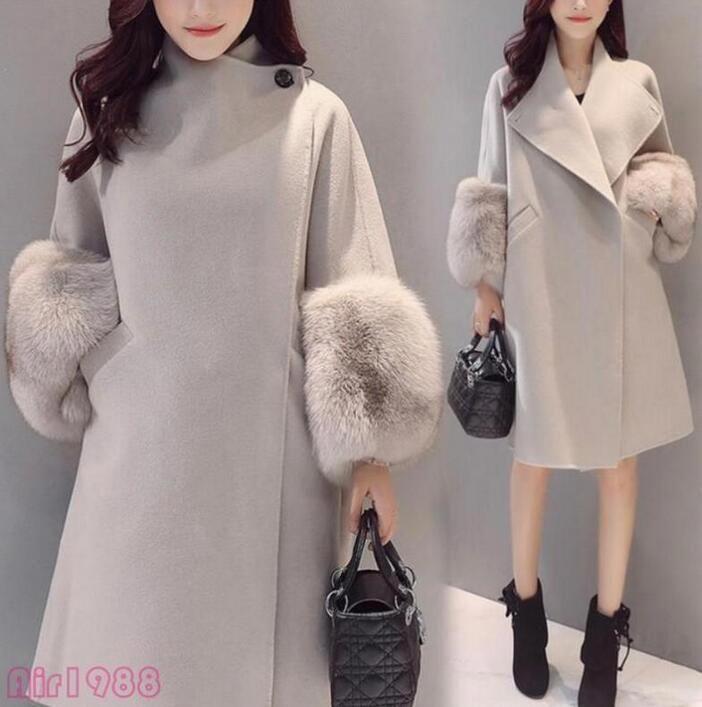 Women s Winter Lapel Wool Blend Jacket Long Coat Warm Fur Trim Sleeve  Outerwear  koreanstylefashion f9169efbe4c