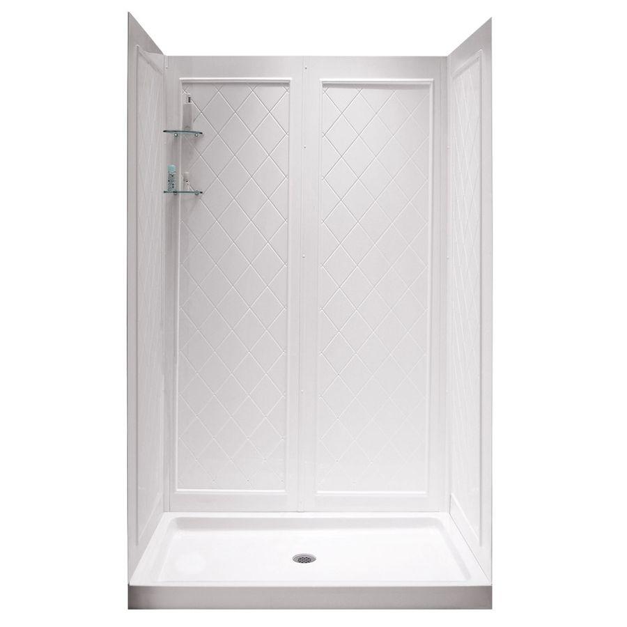 DreamLine Shower Base and Back Walls White Acrylic Wall Acrylic ...