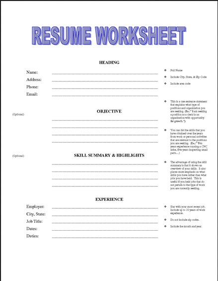 Printable Resume Worksheet Template Simple Sample Templates