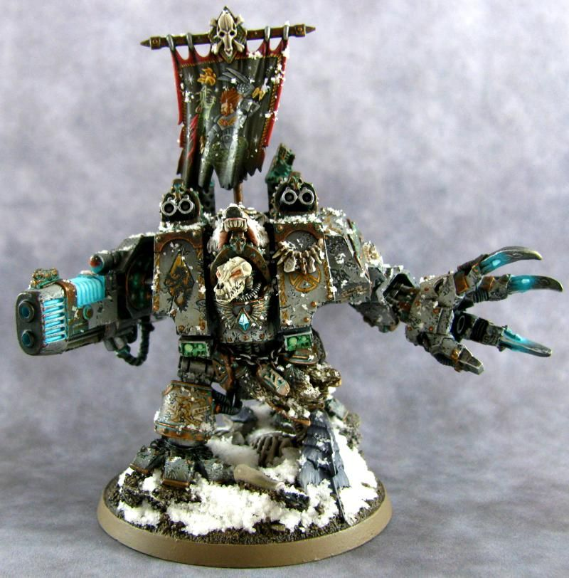 Warhammer 40k Space Marines, Bjorn the Fell-Handed of the Space Wolves Chapter. Incredible custom model made from a bunch of Forgeworld kits - that looks like the Nurgle dreadnought arm and a wolf skull bit from somewhere