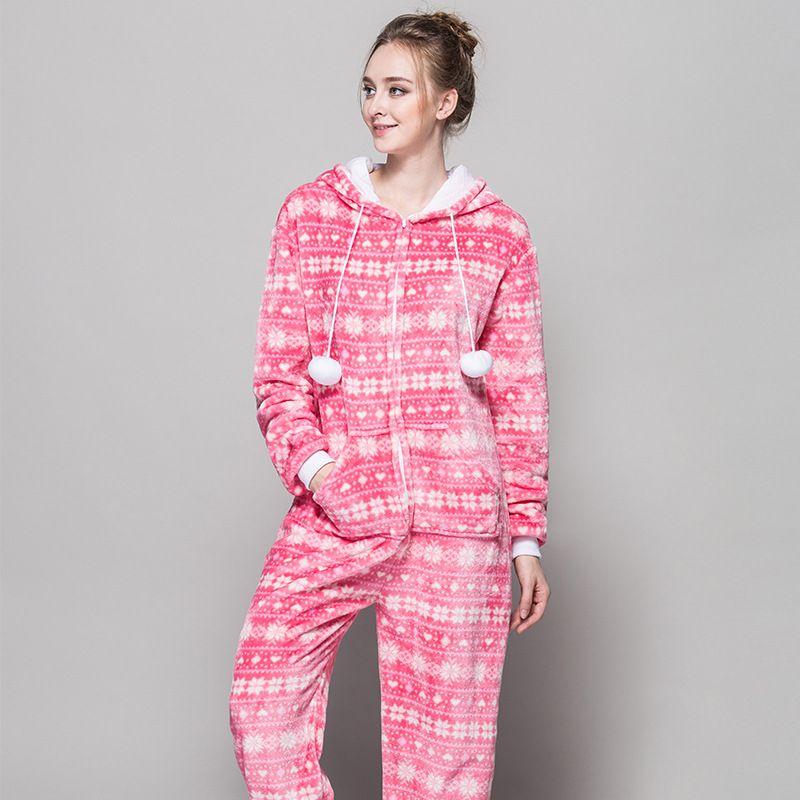 zipper pyjama christmas women snow pink pajamas onesie for