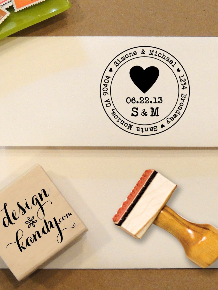 Heart Address Stamp for Save the Dates & Wedding Invitations with ...