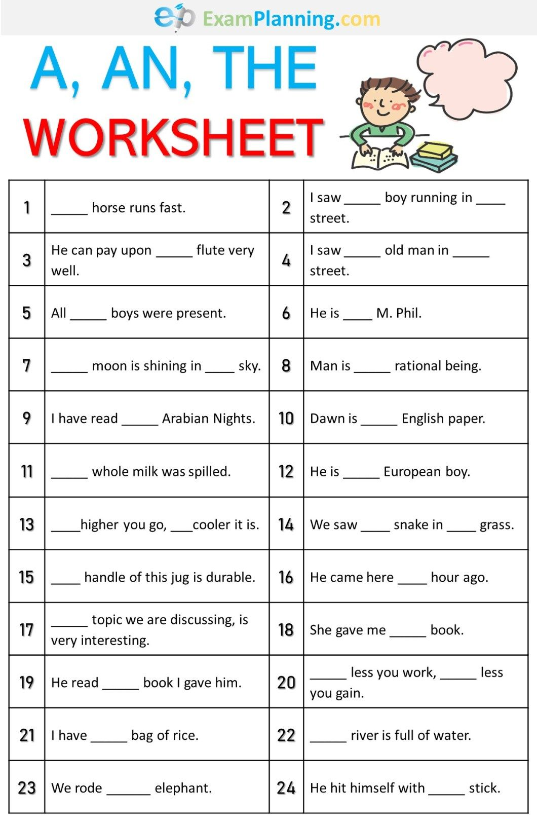 A An The Worksheet
