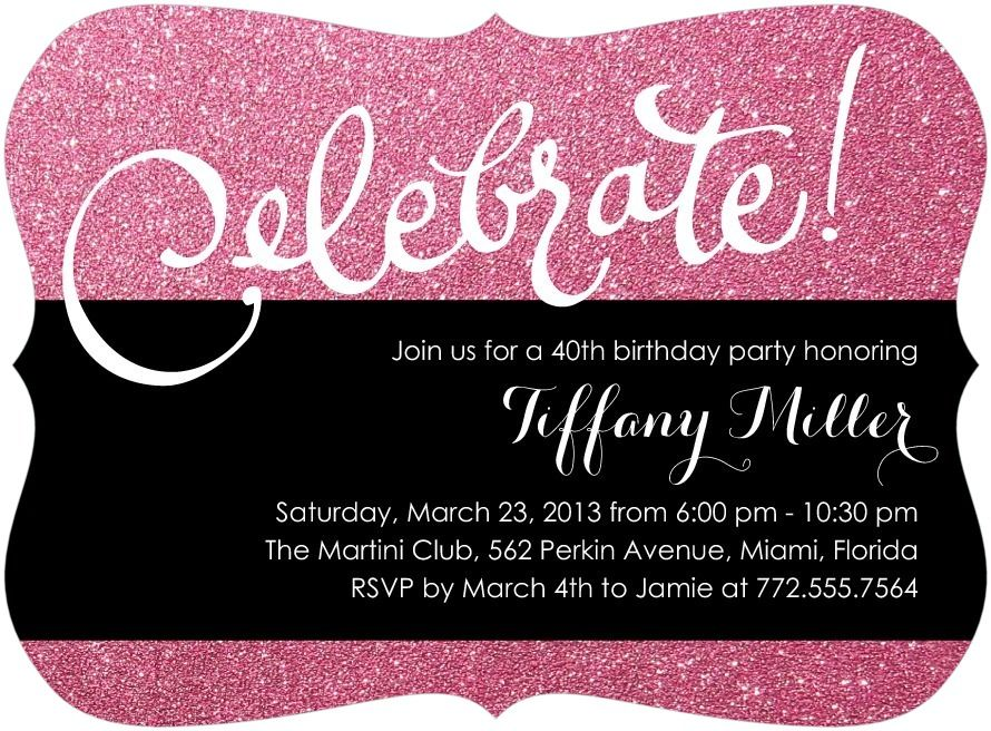 Sparkly Celebration - Adult Birthday Party Invitations in Sassy or ...