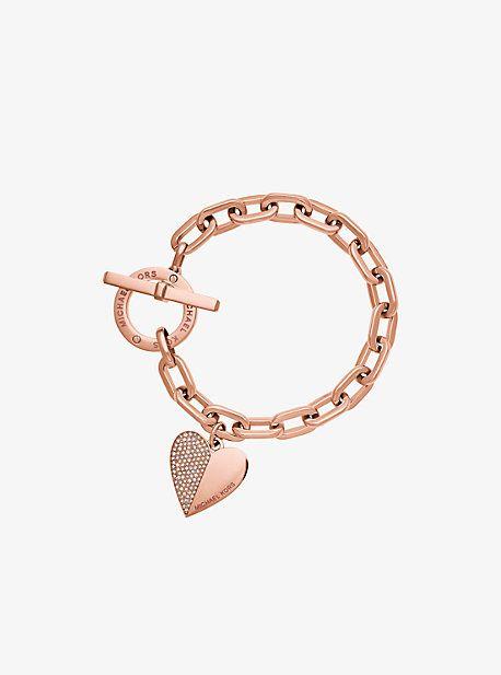 77b6eed1d1be Heart Charm Rose Gold-Tone Toggle Bracelet