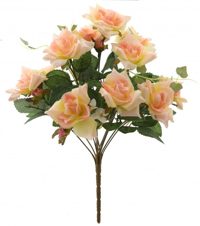 Fourwalls Magnificent Artificial Synthetic Rose Bunch Peach 40 Cm Tall Artificial Flowers Flowers Online Flower Decorations