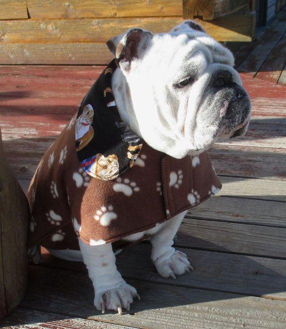 English Bulldog Reversible Coat Fleece Fall Winter Dog Coat Ski