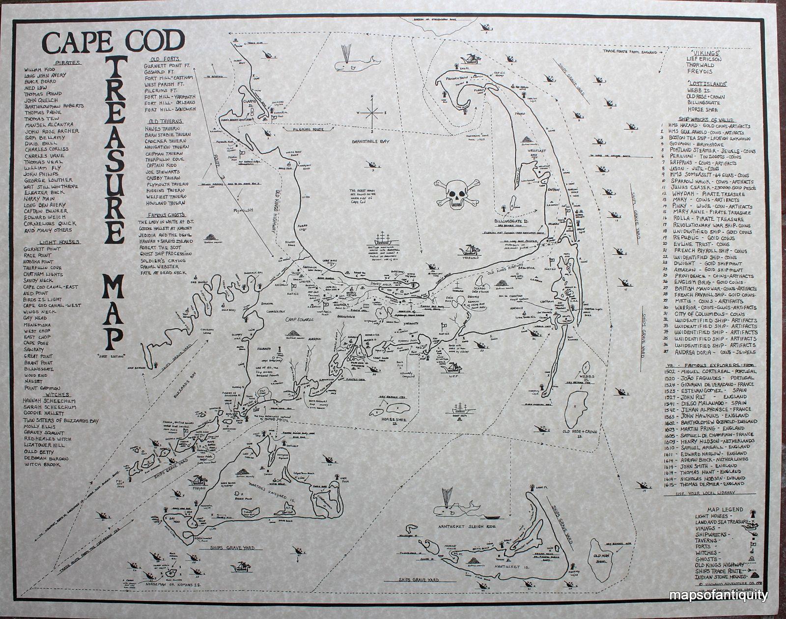 Cape Cod Treasure Map Great for Halloween
