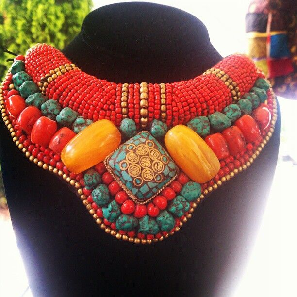 African Amber, Turquoise & Coral collar ~ Ethnic Notions