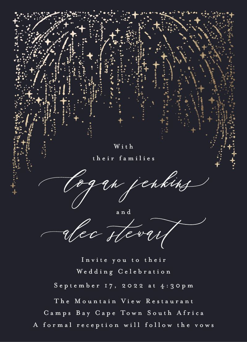 Starry Sky foil-pressed wedding invitation