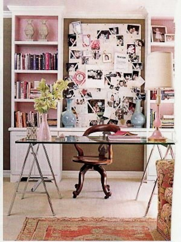 A Girlie Home Office Glass Desk Light Pink Walls With White