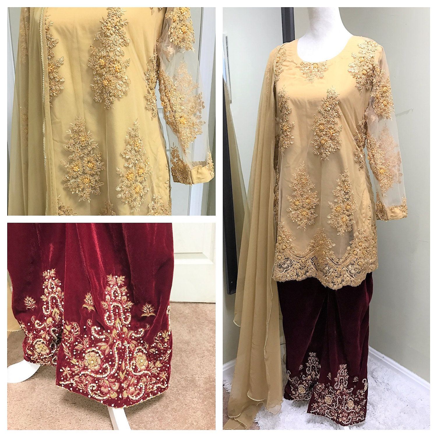 Pakistani Clothes Gold Embellished Lace Shirt With Velvet Embroideried Bellbottom Size M Indian Pak Pakistani Outfits Velvet Bell Bottoms Beautiful Outfits