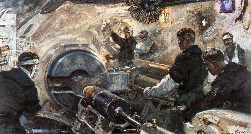 Schwerstarbeit auf engstem Raum:  Die hier von Bergen portraitierte Besatzung...