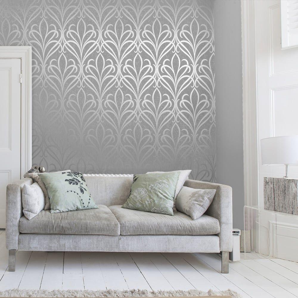 Soft Grey Living Room Ideas: Henderson Interiors Camden Damask Wallpaper Soft Grey