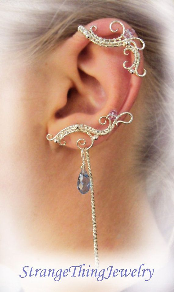 A Pair Of Simetrical Ear Cuffs With Chains Made From Wire And Swarowsky No Piercing