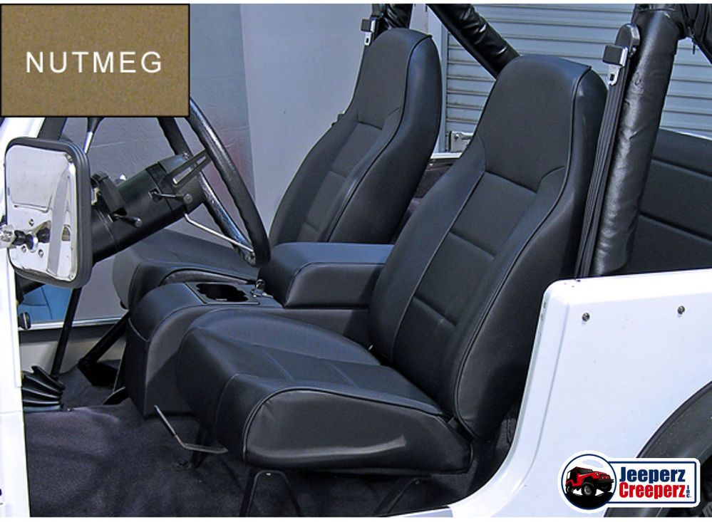 1976 2002 Jeep Cj Yj Tj Wrangler Standard Front Bucket Seat Nutmeg 13401 07 Ruggedridge Jeep Cj Jeep Seats Jeep Wrangler Seats