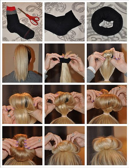Sock Bun My Hair Is More Than 1 2 Way Down My Back And I Use This Diy Hair Donut All The Time Love It Sock Bun Long Hair Styles Diy Hairstyles