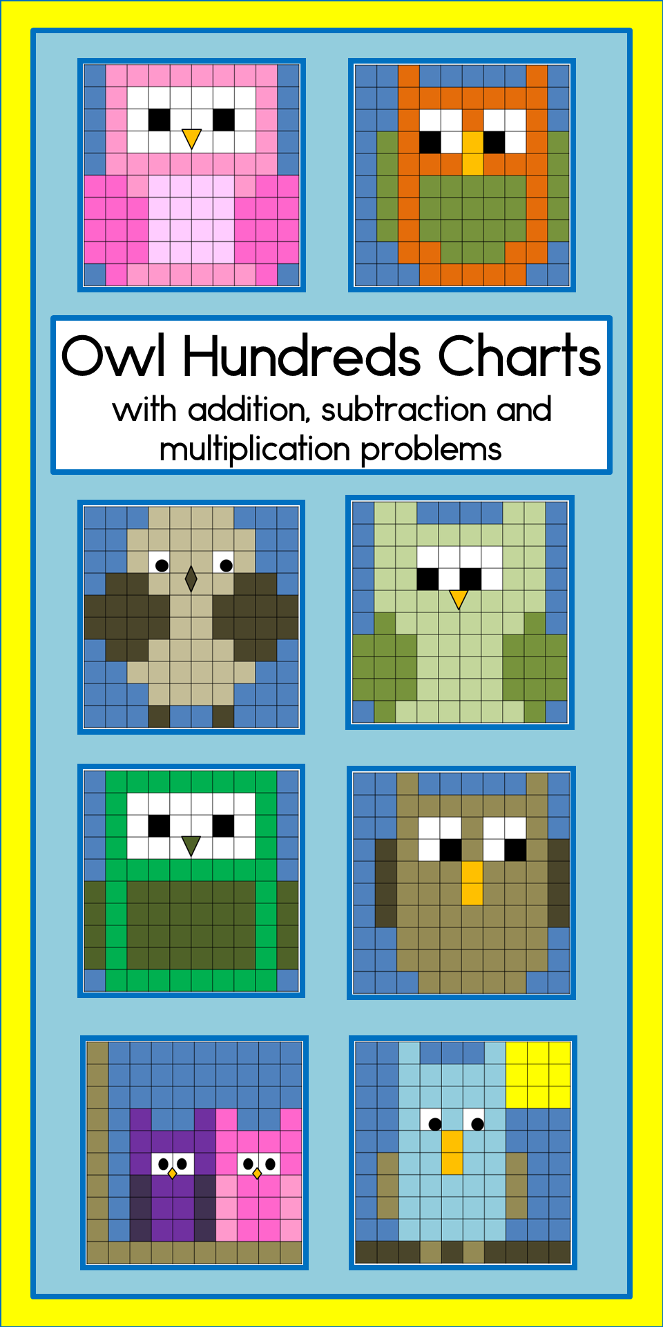 Owls hundreds charts with addition, subtraction and multiplication ...