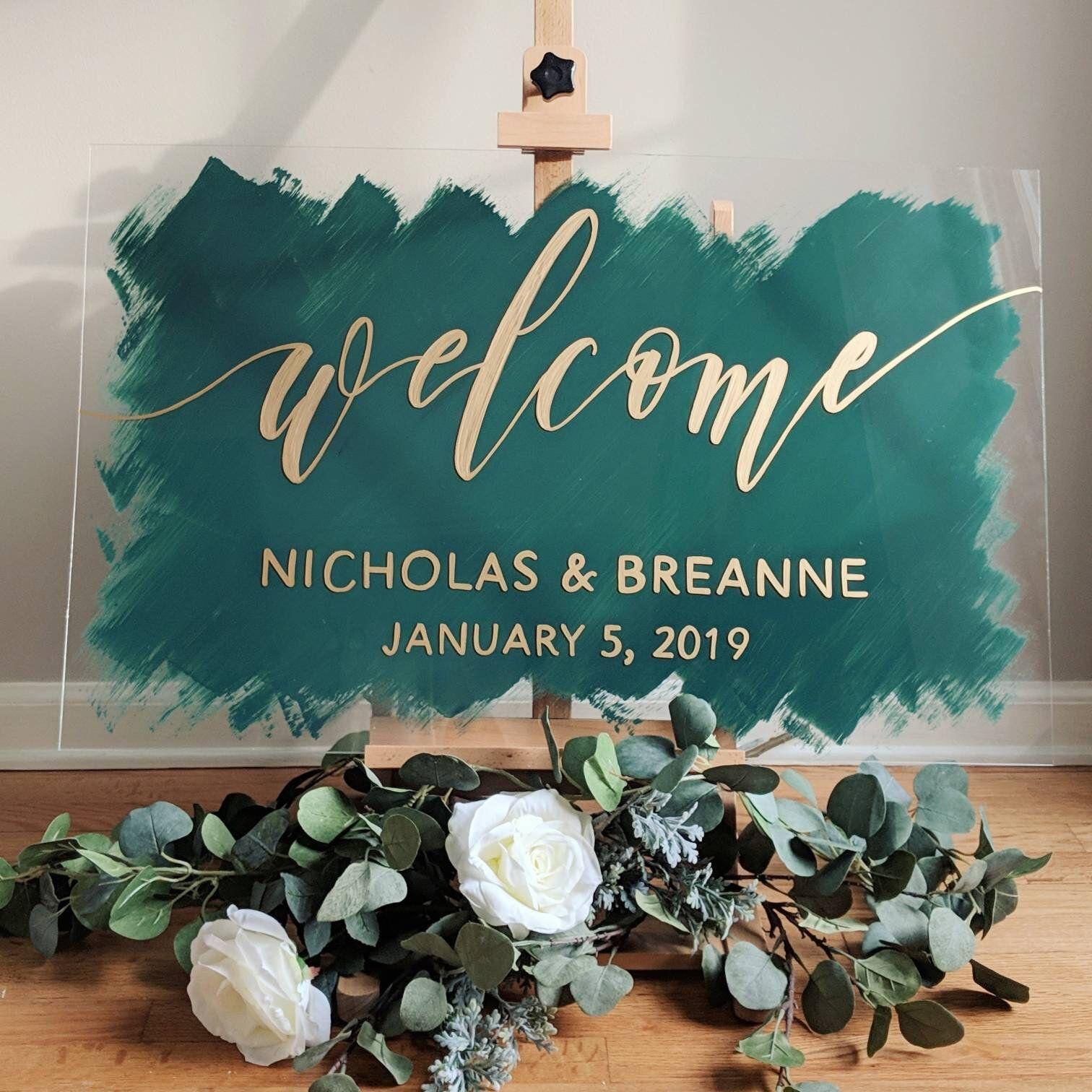 Brushed Acrylic Wedding Sign Painted Acrylic