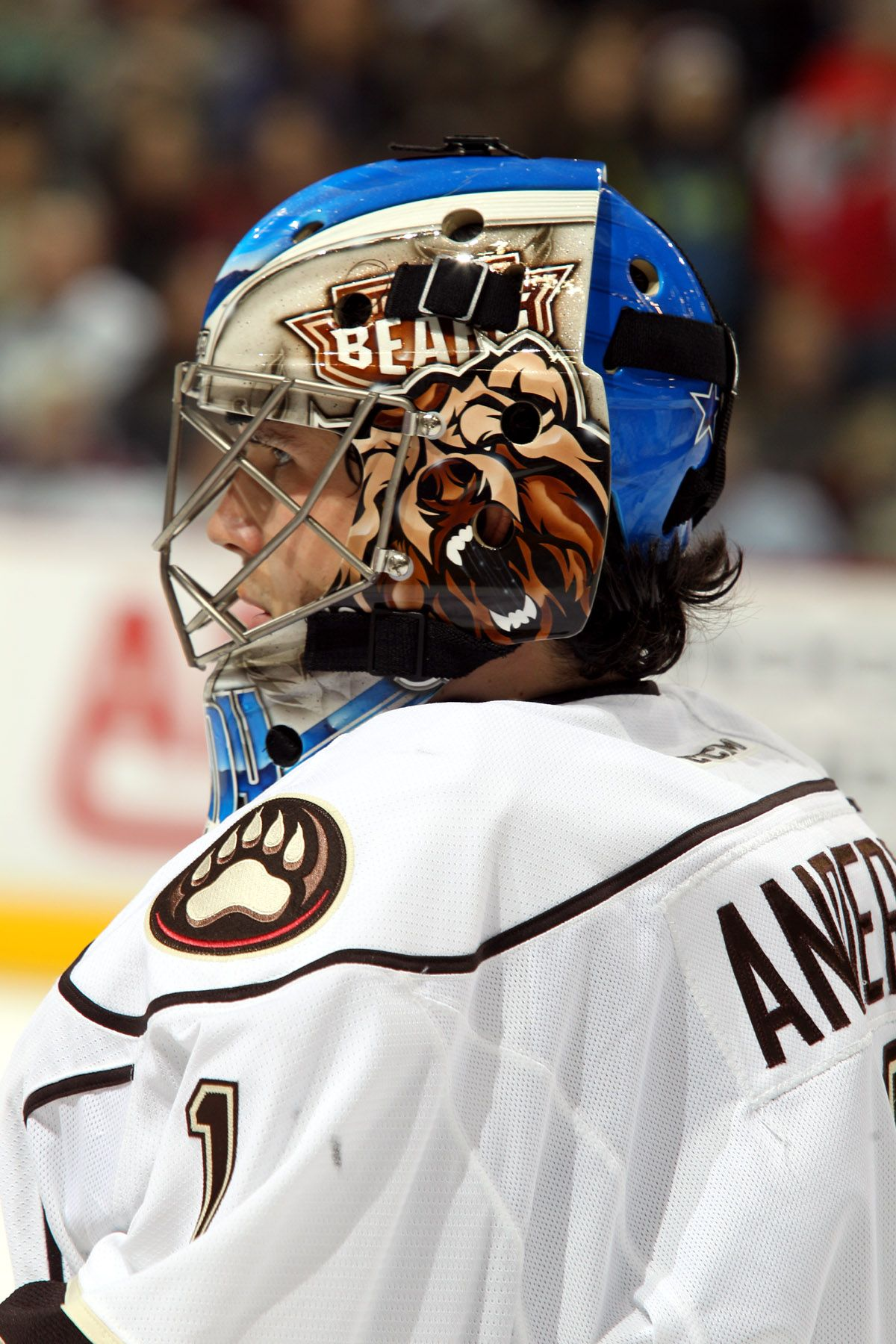 852340b1f18 01.10.15 - Brandon Anderson supporting the Hershey Bears on his goalie  mask. Brandon earned his first AHL win this game against Norfolk.